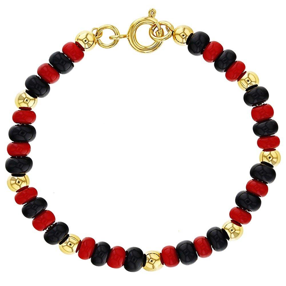 In Season Jewelry 18k Gold Plated Evil Eye Protection Bracelet Red Black Beaded Children 5''