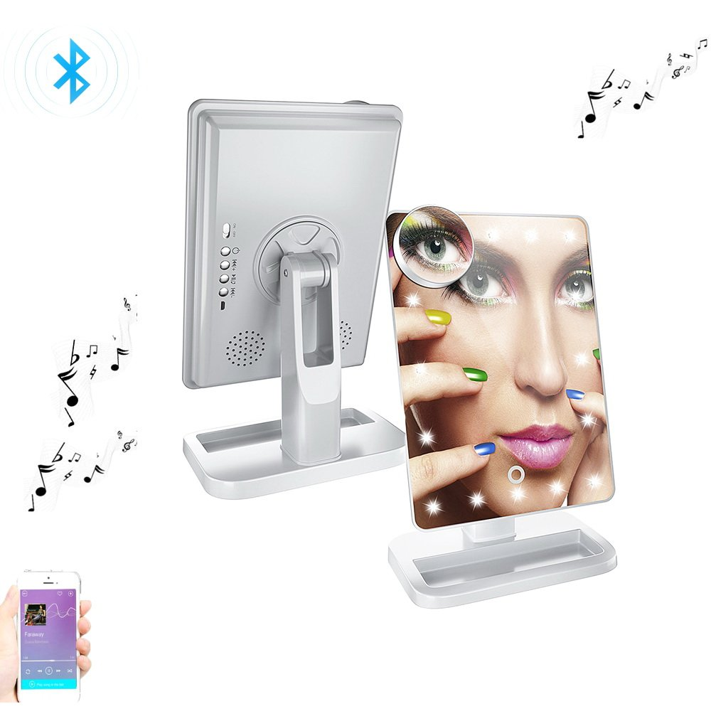 OMAYA Bluetooth Speaker Makeup Mirror- LED Touch Screen wireless Speaker Mirror, Hands Free Speakerphone Cosmetic Mirror, Adjustable Vanity Mirror With 20 LED Light And 10X Magnifier (White)