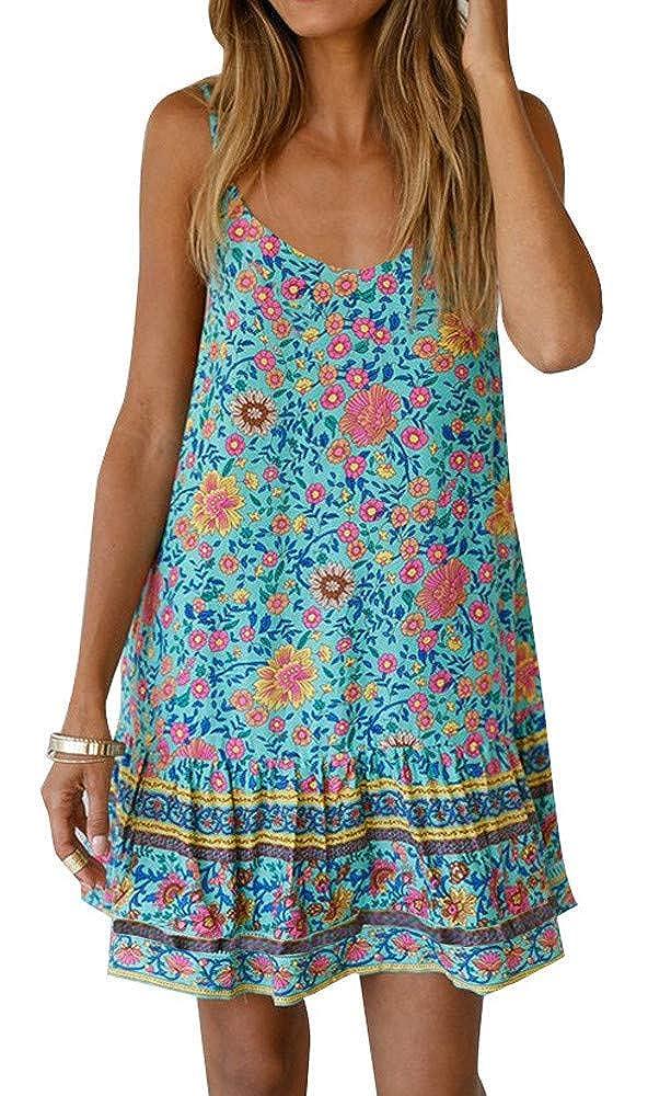 Lake bluee BOCOTUBE Women's Summer Halter Straps Sundresses Swing Short Beach Bikini Cover Up Dress
