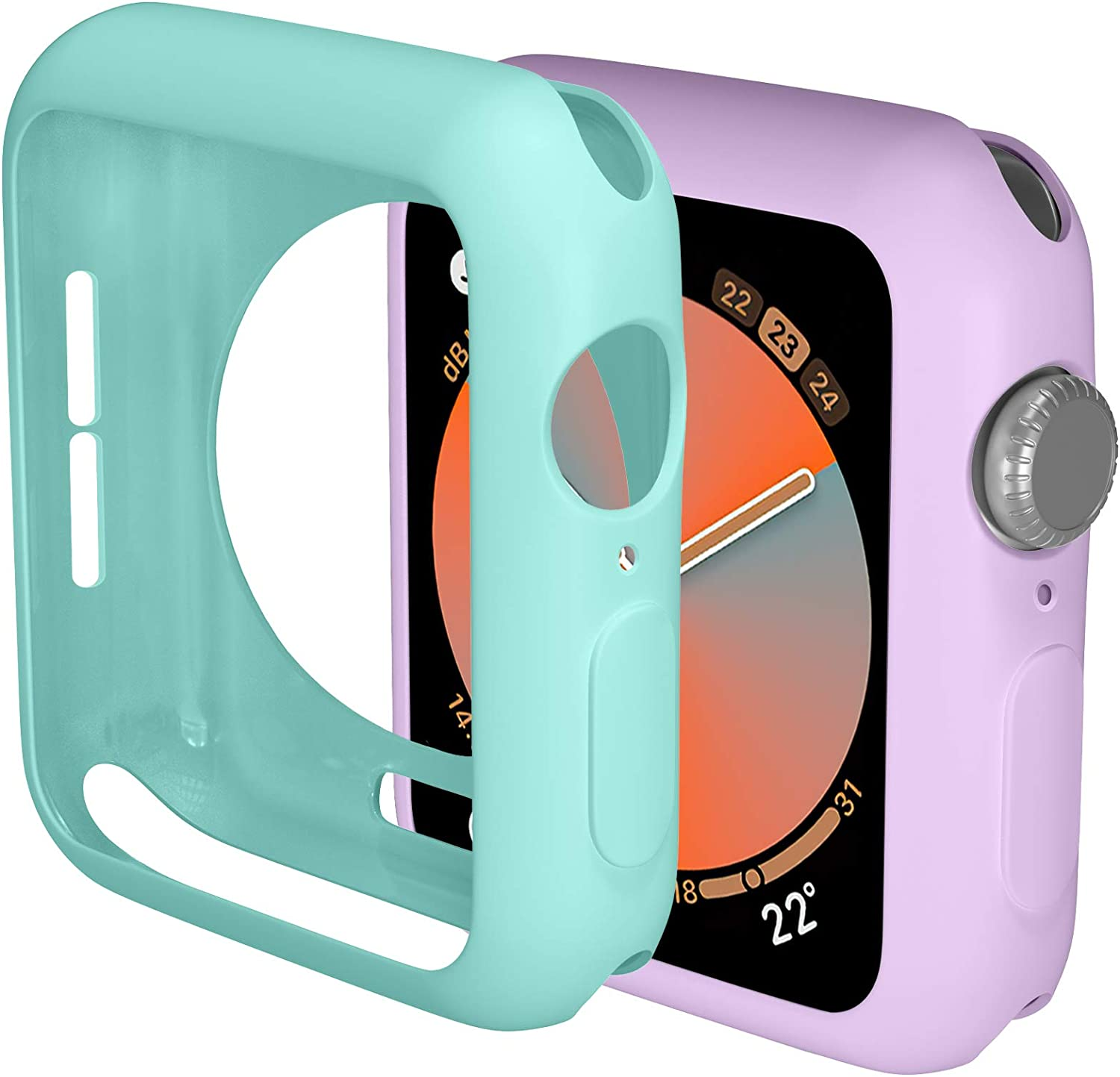 ZAROTO 38mm Case Compatible for Apple Watch SE Protector, 2pack Soft Bumper Protective Case for iwatch Cover 38mm Series 3 2 1 Flexible TPU Thin Lightweight Women Girls (Purple/Light Blue)