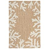 Liora Manne CA023A71612 Monaco Shell Border Rug, Indoor/Outdoor, 24'' x 36'', Neutral