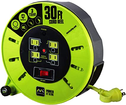 MASTERPLUG PRO XT 30 METRE CABLE REEL 13 AMP WITH WALL BRACKET PROFESSIONAL HEAV