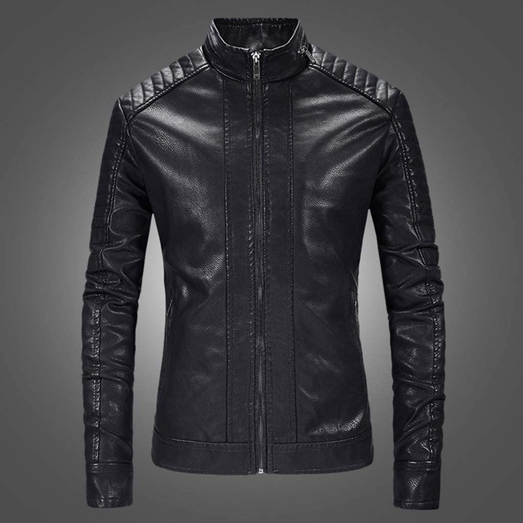 Bolayu Men/'s Retro Lightweight Leather Motorcycle Bomber Jacket Fall Winter Warm Biker Moto Coat Full Zip Up Casual Cool