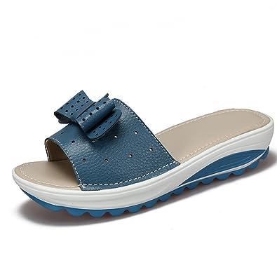 Gaatpot Damen Leder Sandaletten Frauen Keilabsatz Flip Flip Flip Flop Peep Toe e91eb1