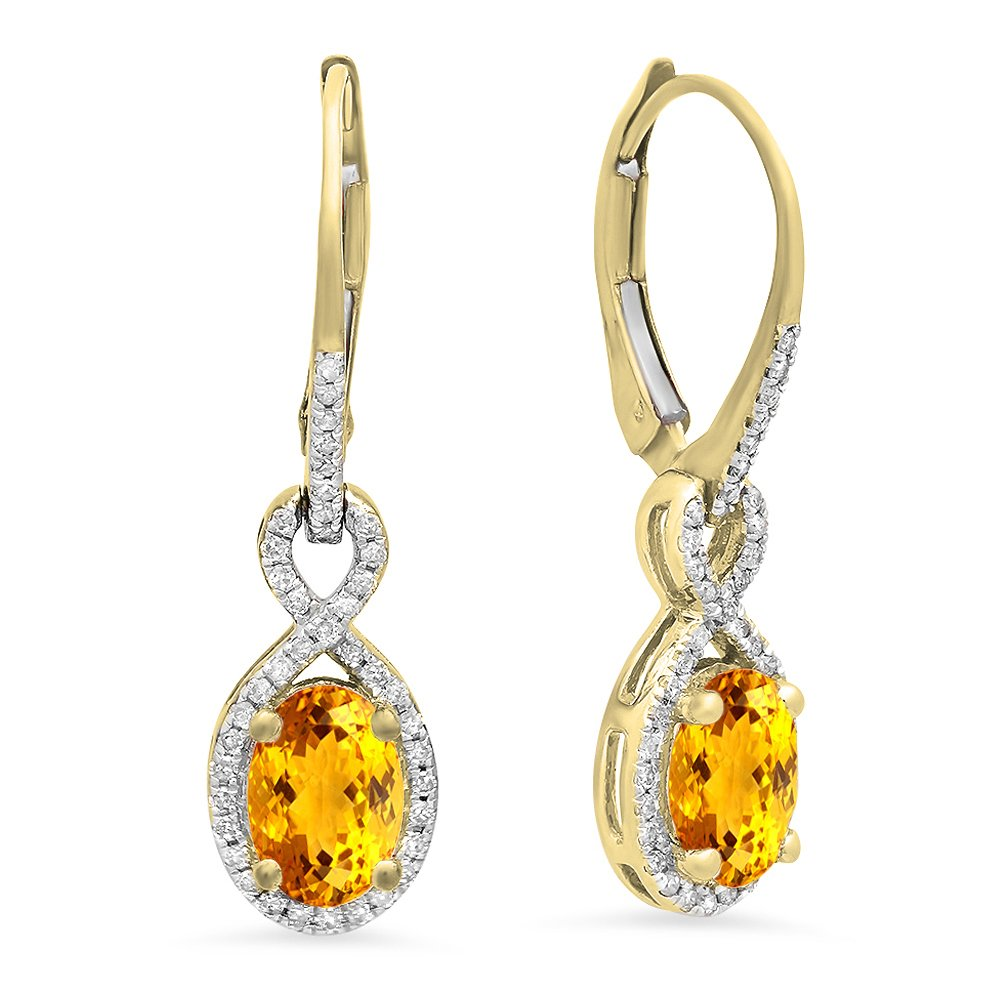 Dazzlingrock Collection 10K Oval Citrine & Round White Diamond Ladies Infinity Dangling Earrings, Yellow Gold