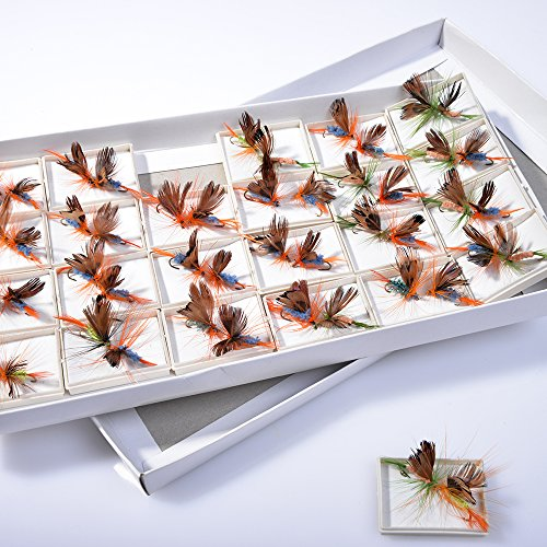 BLISSWILL 48Pcs Butterfly Fly Fishing Lures Dry Flies Set Floating Flies Hooks for Bass Salmon Trout (Trout Hooks Fly)