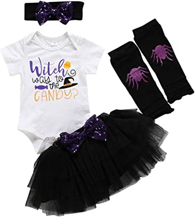 Halloween Baby Girls Sequins Print Strap Romper jumpsuit+Set outfit+Leggings set