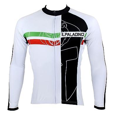 ILPALADINO Men s Cycling Jersey Long Sleeve Biking Shirts White and Black  ... 87a20ae19