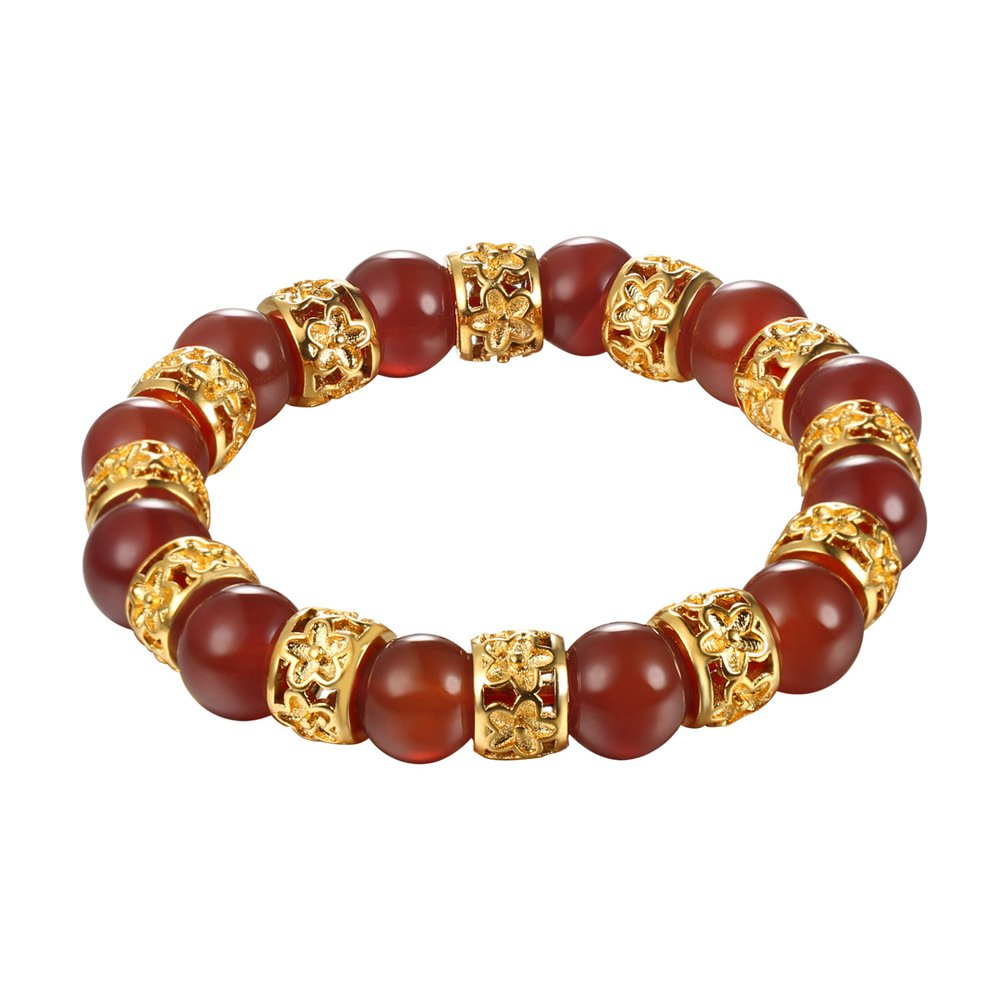 Crystal 10MM Round Beads Bead Gemstone Gold Plated Charms Bracelet for Women Men Jewelry Stretch Bracelet U7 Jewelry U7 H2760K-81