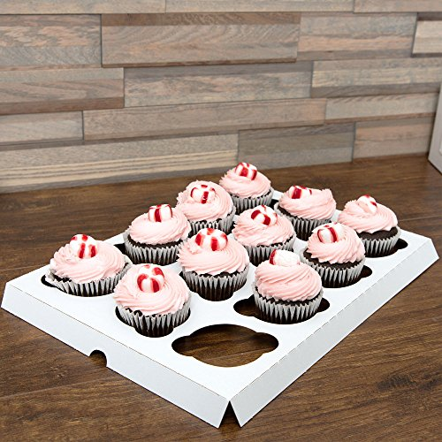 Pack of 10 WHITE 12-Cupcake Insert for 14x10 Bakery or Cake Box w/ Signature Party Picks