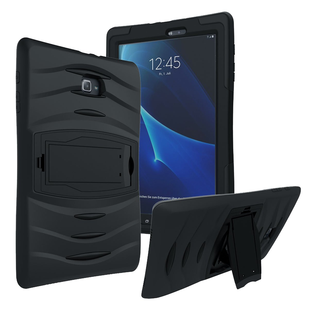 Galaxy Tab A 8.0 Case by kiq Full-body Shock Proof Hybrid Heavy Duty Armor Protective Case for Samsung Galaxy Tab A 8.0 [SM-T350 & SM-T357T] with Kickstand and Screen Protector (Armor Black)