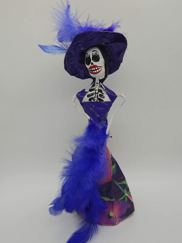 COLOR Y TRADICI/ÓN Mexican Catrina Doll Day of Dead Skeleton Paper Mache Dia de Los Muertos Skull Folk Art Halloween Decoration # 1551