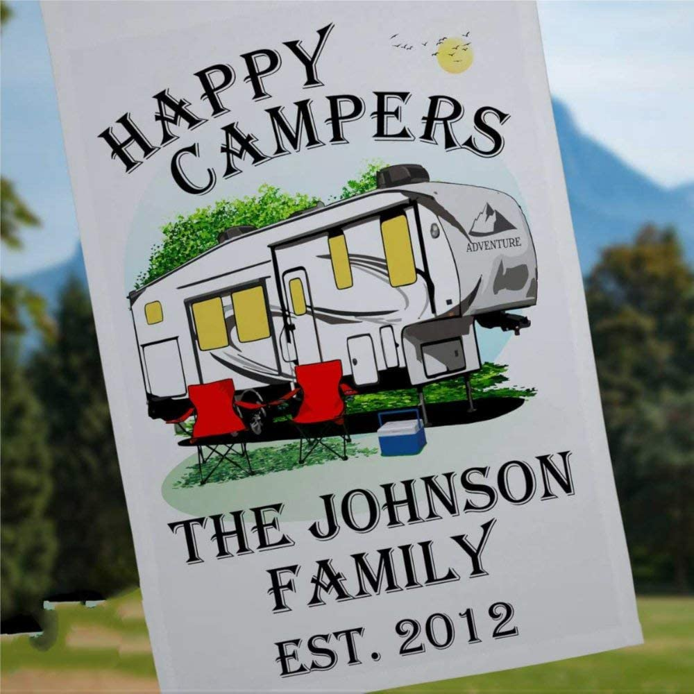 BYRON HOYLE Happy Campers Personalized 5th Wheel Camping Flag Camping Sign Campsite Flag RV Camp Sign Camper Decoration 5th Wheel Decor 12x18 inch Yard Flag Farmhouse Decor Holiday Outdoor Decor