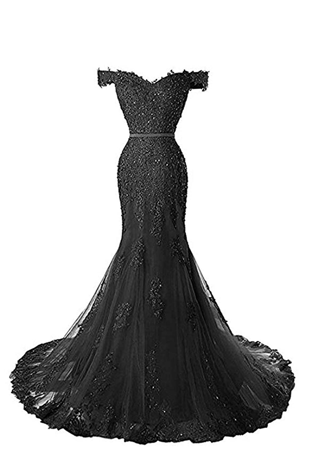 Black formalmall Women's Off The Shoulder Mermaid Prom Dresses 2019 Long Beaded Lace Applique Evening Gown