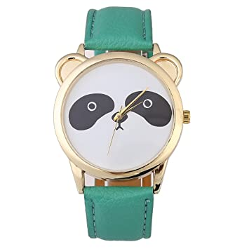 Mujer Cuarzo Reloj de pulsera, weant Mujer Relojes Bonito Panda Face Faux Patrón Mujeres Reloj