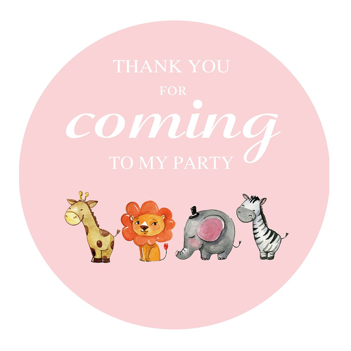 MAGJUCHE Pink Jungle Animals Thank You Stickers, Girl Safari Zoo Animal Birthday Baby Shower Party Favor Labels, 2 Inch, 40-Pack