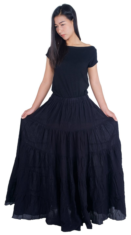Lannaclothesdesign Women's Cotton Long Ruffle Full Circle Long Skirts Maxi Skirt One Size Black