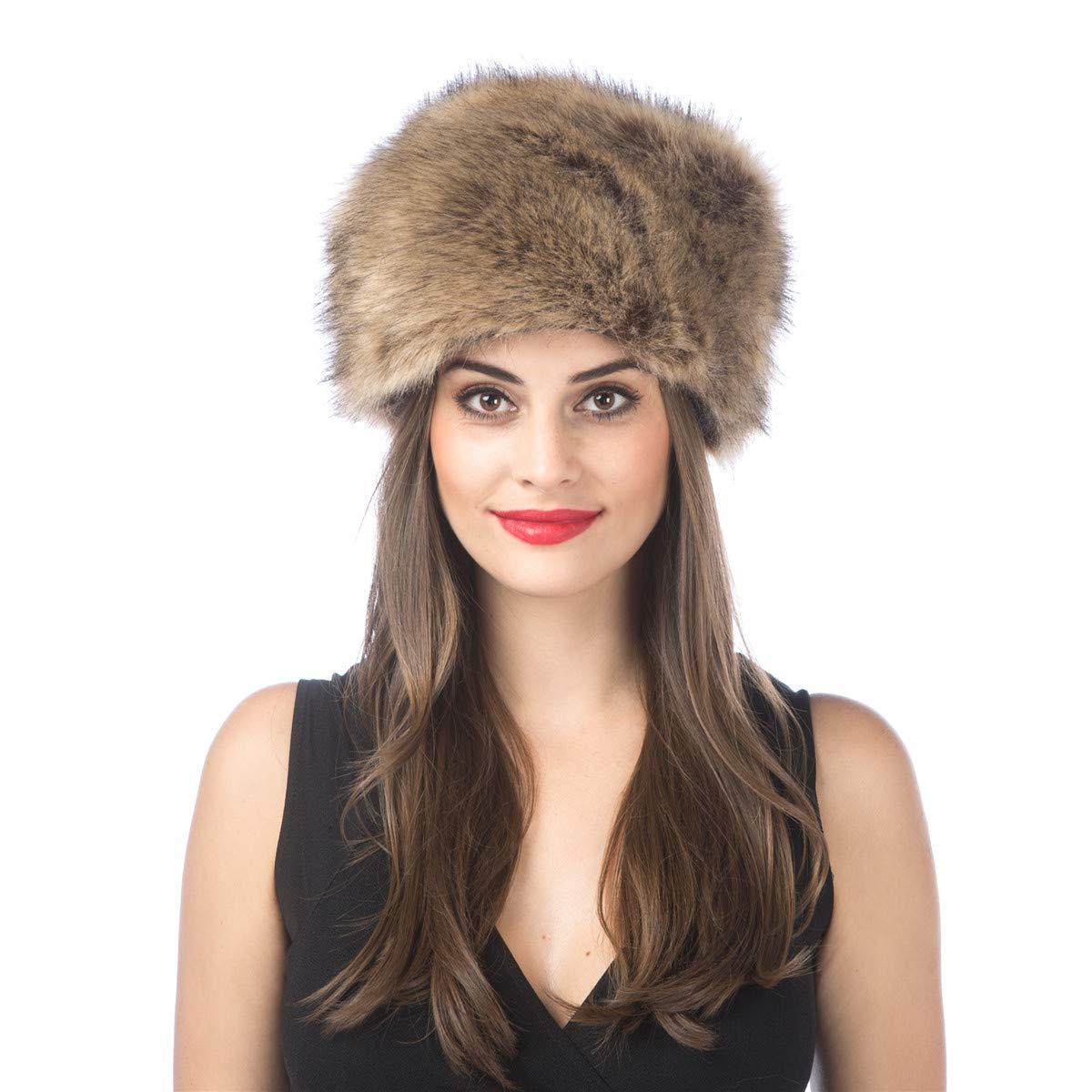 Lucky Leaf Women Men Winter Thick Fur Russian Hat Warm Soft Earmuff (H1-Paille)