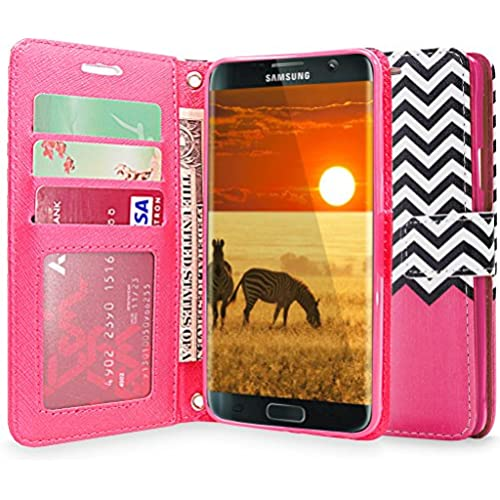 S7 Edge Case, Galaxy S7 Edge Case, Cellularvilla [Zig Zag Pattern] Chevron Design Premium Pu Leather Wallet Case [Stand Feature] Card Slots Flip Cover Sales