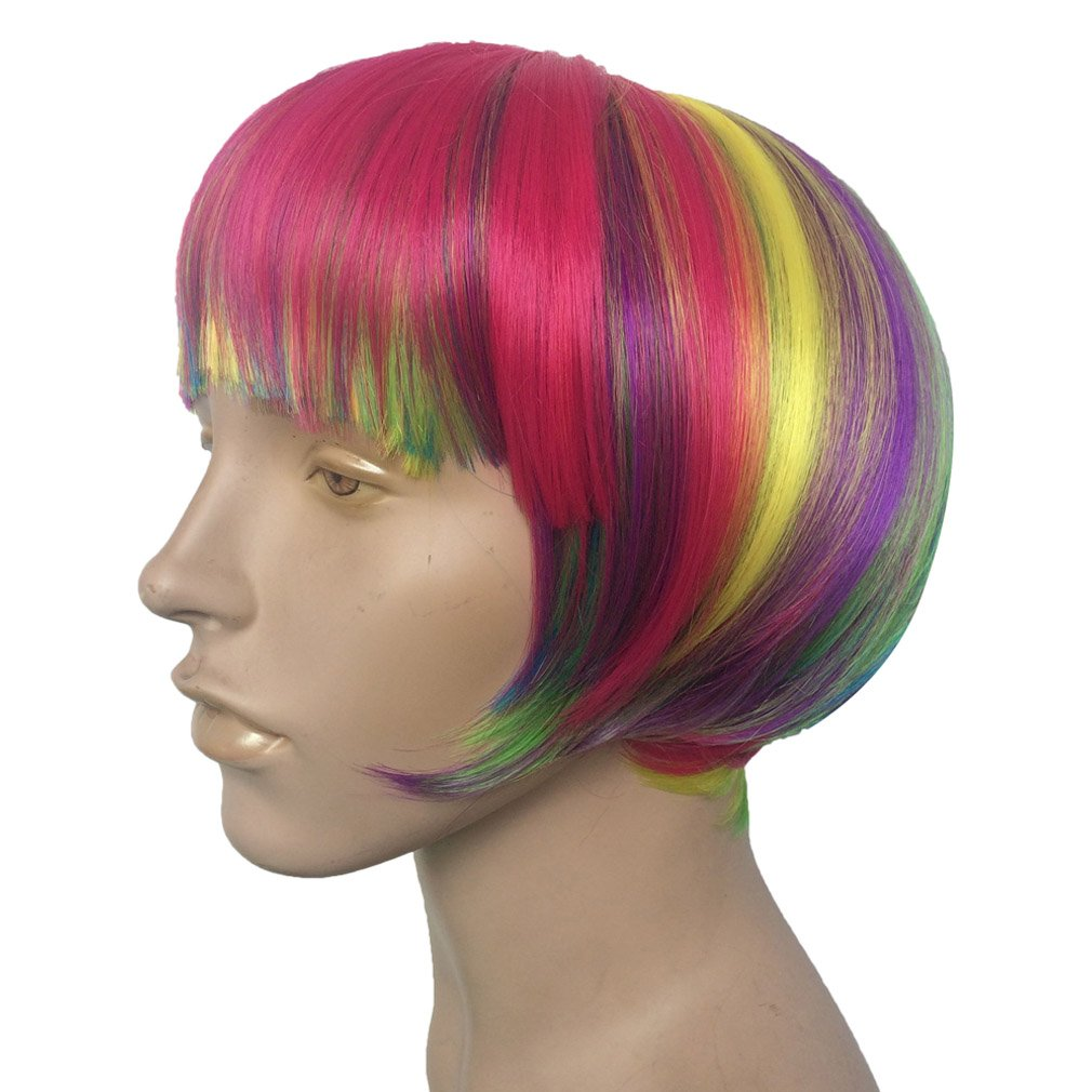 Short Rainbow Wig Cosplay Wigs Heat Resistant Synthetic Fiber BOB Hairpiece , Free Wig Cap by Namecute (Image #4)