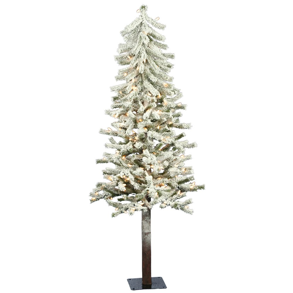 amazoncom vickerman 4 flocked alpine artificial christmas tree with 100 clear lights home kitchen