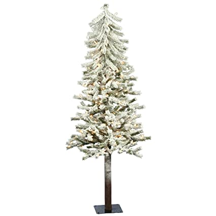 Sparse Christmas Tree Artificial.Vickerman 4 Flocked Alpine Artificial Christmas Tree With 100 Clear Lights