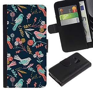 Aves del estampado de flores del papel pintado- la tarjeta de Crédito Slots PU Funda de cuero Monedero caso cubierta de piel ParaSamsung Galaxy S3 MINI i8190 (NOT S3)