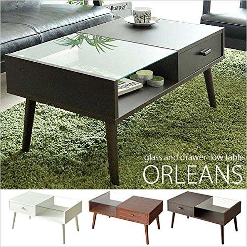 ローテーブル ORLEANS(オリンズ)ガラス天板(センターテーブル ガラステーブル リビングテーブル カフェテーブル) ライトブラウン B00UCRV6WC ライトブラウン ライトブラウン