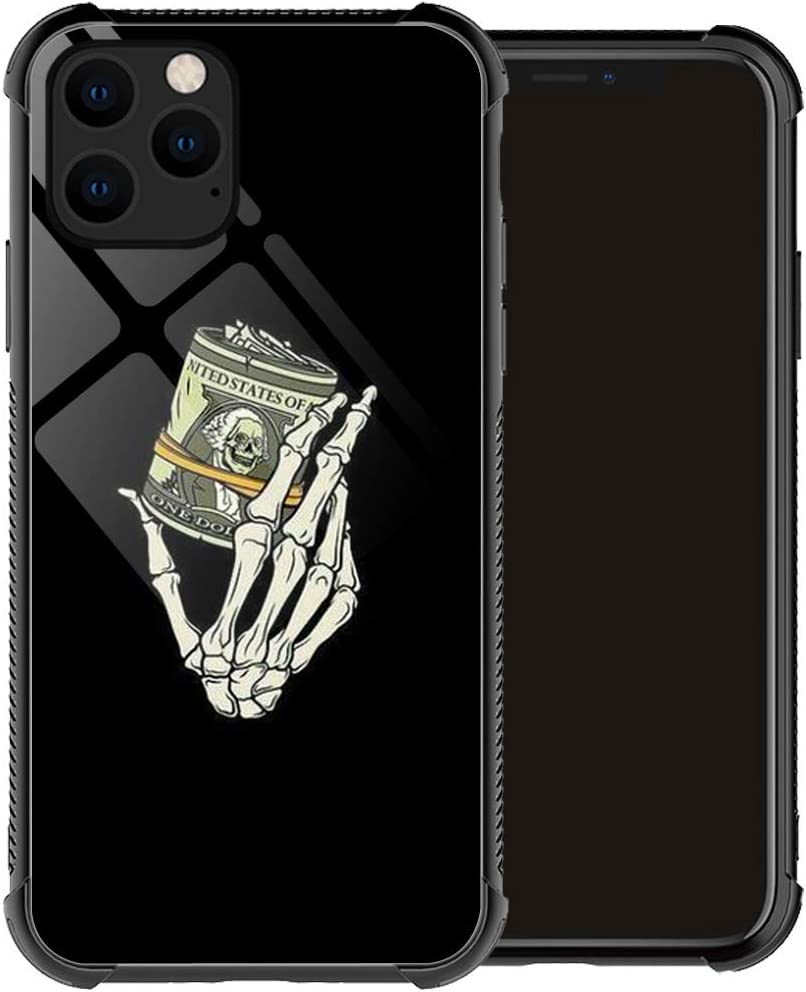 Compatible with iPhone 12 Case,Skull Hand Holding Money iPhone 12 Pro Cases for Men Boys, Drop Protection Pattern with Soft TPU Bumper Case for Apple iPhone 12/iPhone 12 Pro Case 6.1-inch