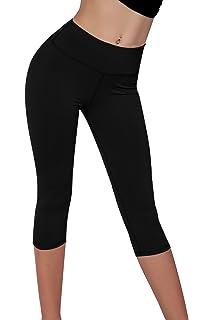 bdd50b9fff73c Splendor flying Women's Yoga Capri Legging Inner Pocket Non See-Through  Fabric Leggings