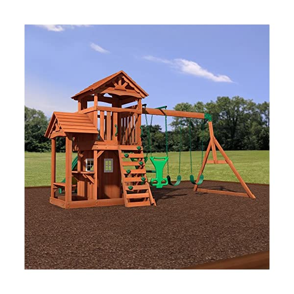 Backyard Discovery Tanglewood ... - Backyard Discovery Tanglewood All Cedar Wood Playset Swing Set