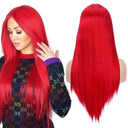 Peluca larga y recta de Cosplay para mujer Moda de alta calidad Rojo 22 pulgadas Parte