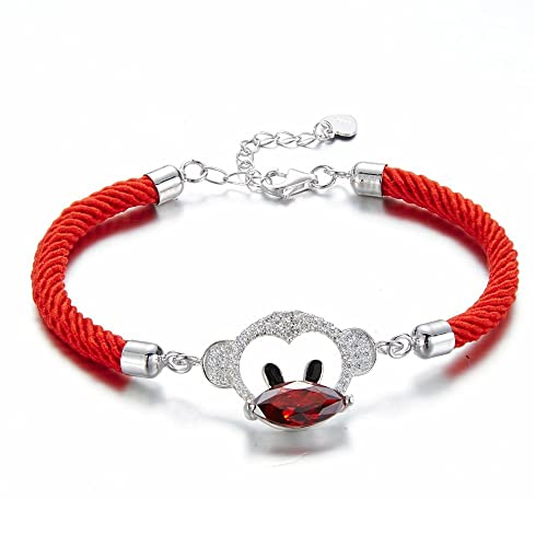 426193edcbac Pulsera Mono de Cristal Swarovski Elements Rojo y Cordón Rojo - CRY ...