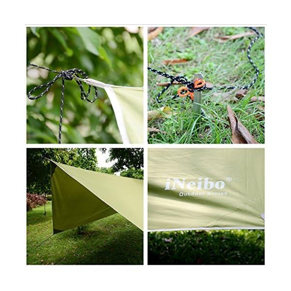 614hQjqgZuL iNeibo Tarp 3x4 Wasserdicht Zeltplane Sonnenschutz Regenschutz mit 5 Zeltheringe und 6 Lange Schnüre Camping Zubehör…