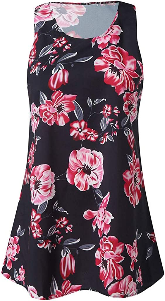 ZHENBAO Womens Summer Sleeveless Vintage Boho Beach Floral Printed Casual Short Mini Dress