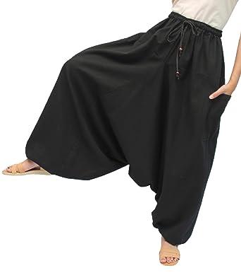 3aac6665ee9 ChiangmaiThaiShop 100% Cotton Baggy Boho Aladin Yoga Harem Pants (S-XL for  Waist