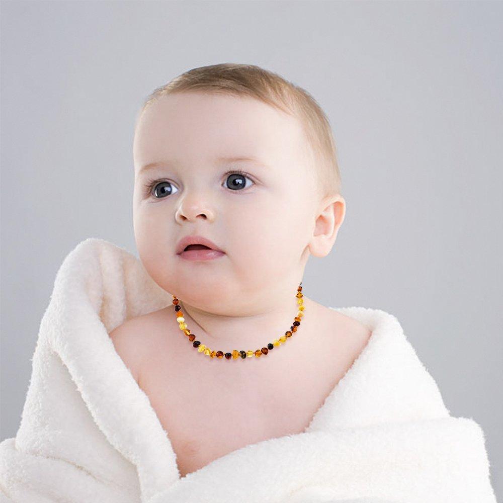 283HN16YE Drooling /& Teething Pain Reduce Properties Yellow Teething Pain Choker Natural Unisex Raw Baltic Amber Teething Necklace for Babies Children Boys Girls Teethers