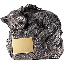 Pet Memorial Angel Cat Sleeping Cremation Urn Bronze Finish Bottom Load 30 Cubic Inch