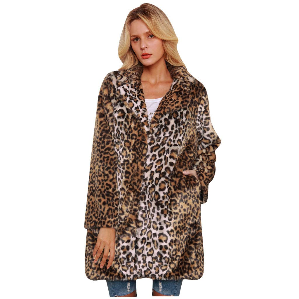 YANG-YI Parka Jacket Women Autumn Ladies Faux Fur Warm Short Coat Leopard Coat Yellow by YANG-YI