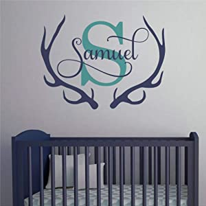 Antler Name and Initial, Antler Name Decal, Initial Ram Decal, Antler Decal, Antlers with Name Wall Decals Removable Vinyl Decals Sticker Wall Decor Mural Wall Art Home Decor