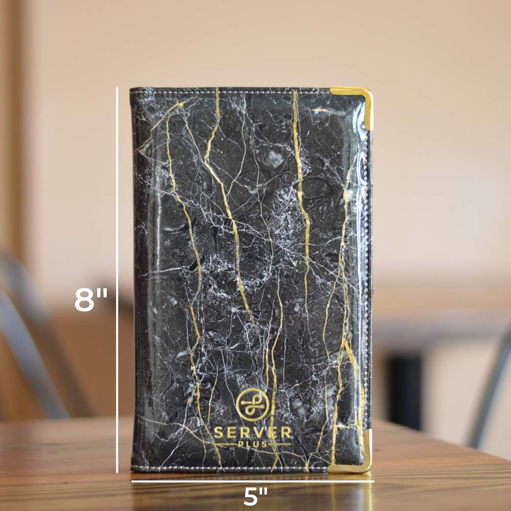 Anti Stain Waiter and Waitress book with Zipper Money Pocket and Pen Holder Black Marble Waiter Wallet with Metal Corners that Holds Order Pads and Fits Apron Server Book by Server Plus