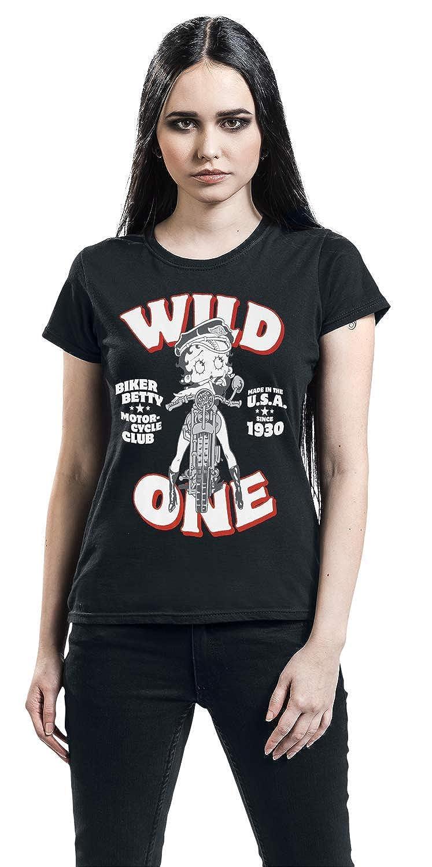 Betty Boop Bike Ladies Camiseta Negro