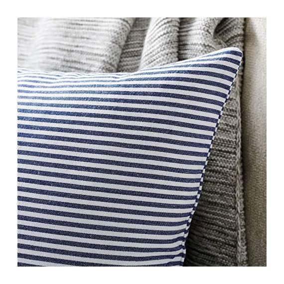 """Shamrockers Farmhouse Striped Throw Pillow Cover Decorative Cotton Linen Ticking Stripe Cushion Pillowcase (18""""x18"""", Navy, Pack of 2) - Material: 100% Cotton Linen & Imported; Features: Invisible Zipper, Sturdy and Smooth, Large 16 Inch (approx.) opening for EASY INSERTION and removal of pillows, Tight zigzag over-lock stitches to avoid fraying and ripping. Double sewing at 4 sides with the tear-proof design. Its hard to be tore and durable; Design & Occasion: Same design / pattern on BOTH SIDES of these blue and white throw pillow covers, make a modern and natural look to your room. Suitable for Sofa, Bed, Home Decor, Office, Car. - patio, outdoor-throw-pillows, outdoor-decor - 614hSjlQJoL. SS570  -"""