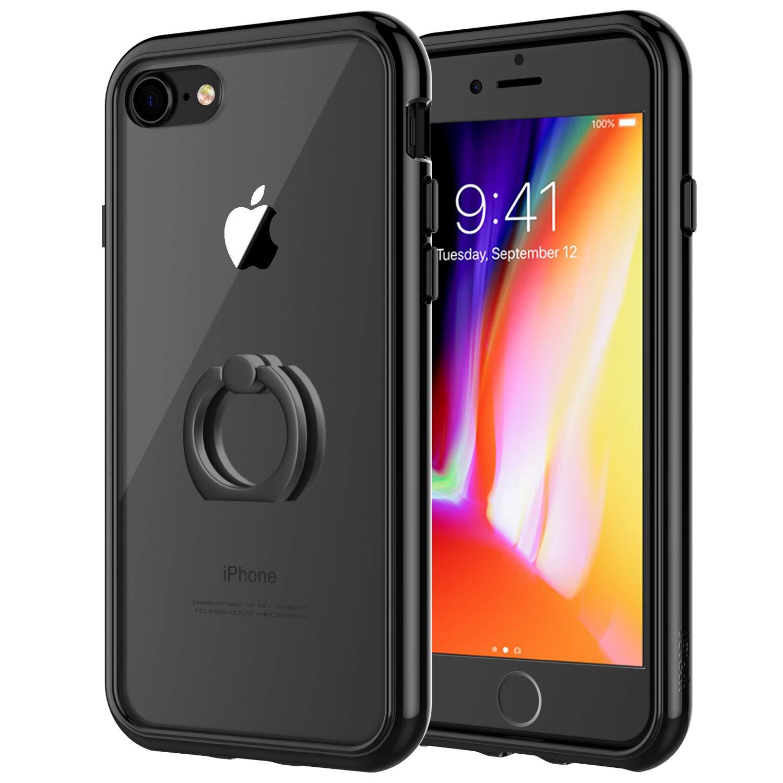 a72340bb6a Amazon | JEDirect iPhone8 iPhone7 ケース リング付き スタンド機能 バンパー 衝撃吸収 (ブラック) | ケース・ カバー 通販