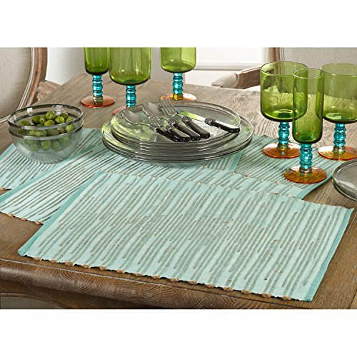 Occasion Gallery Aqua Color Ribbed Design Dining Placemat, 13