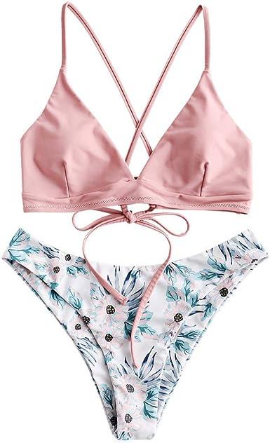 ZAFUL Conjunto de bikini para mujer con tirantes trenzados