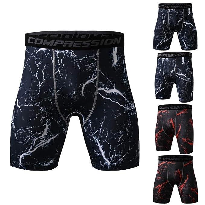 DEELIN Moda De Hombre Impreso Entrenamiento Deportes Yoga Atl/éTico Pantalones Cortos De Compresi/óN Ajustados Pantalones R/áPidos Y De Secado R/áPido
