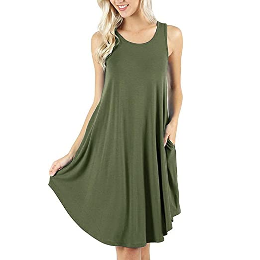 4d070e8138711 Makaor Women s Sleeveless Pockets Casual Swing T-Shirt Dresses Summer Tank  Vest Mini Dress (