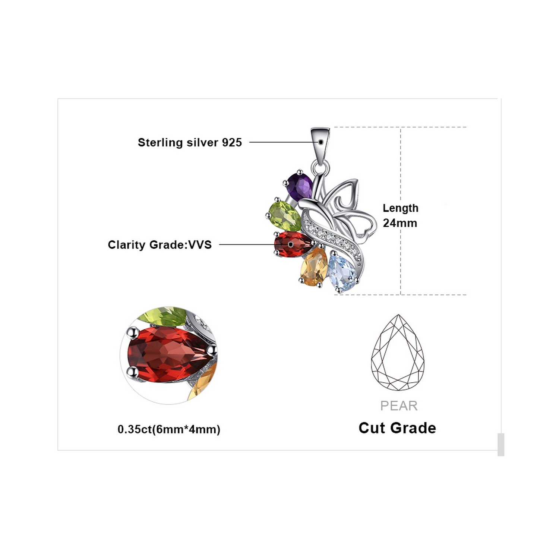 MMC 2.4ct Amethyst Garnet Peridot Citrine Blue Topaz Silver Pendants Necklaces