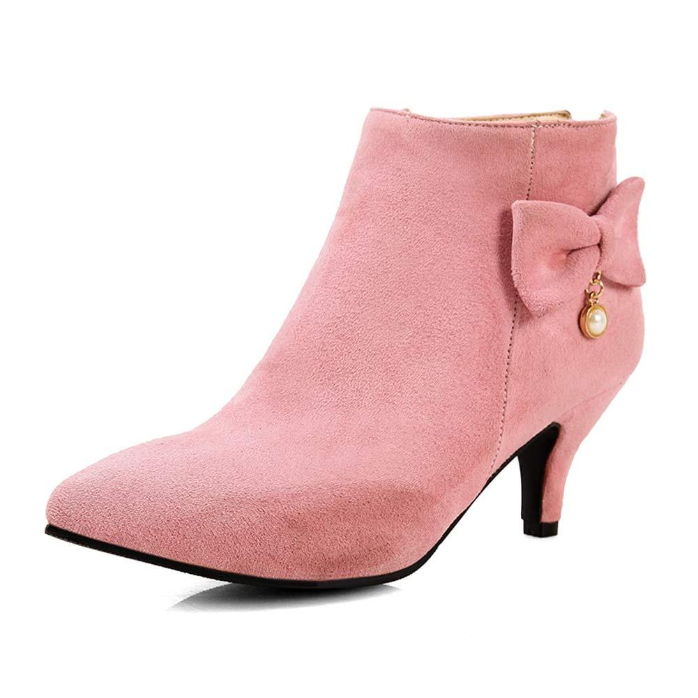 rose HOESCZS 2018 2018 2018 Plus La Taille 33-48 Zip Up Winter Warm bottes Femme Chaussures à Talons Hauts   Ajouter Bottes Fourrure De Cheville Chaussures Femme 817